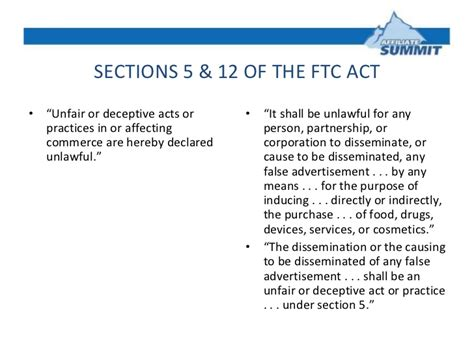section 5 of the ftc act law enforcement risks for advertisers affiliates networks