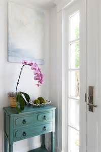 teal console table cottage entrance foyer reiko feng shui design