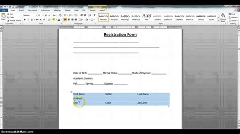 design form in word how to create a fillable form using ms word 2010 part 1