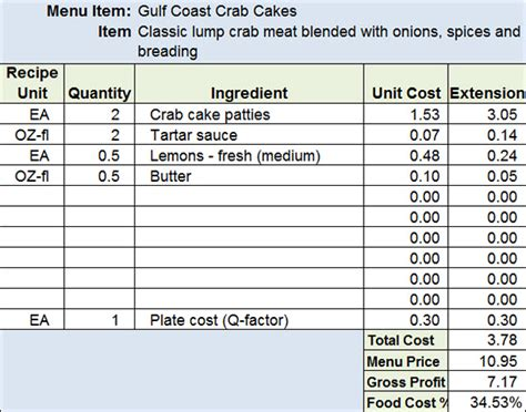 accounting standard cost card template menu recipe cost spreadsheet template