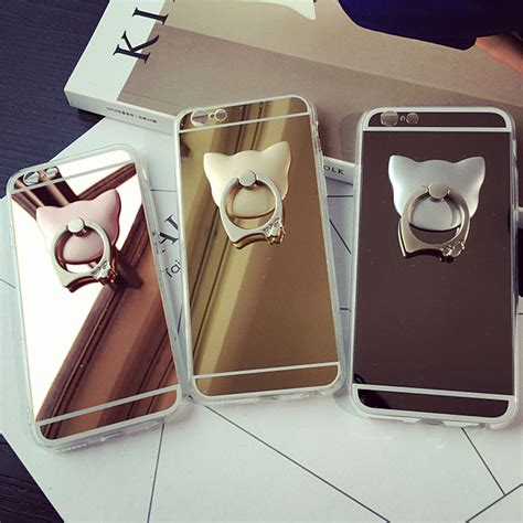 Casing Iphone 5 5s Metal Mirror Ring Stand fashion metal cat ring stand mirror surface phone cases coque back cover for iphone 5s 5 se 6s 6