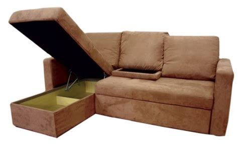 Sleeper Sofa With Storage Chaise Brown Sectional Sofa Bed With Storage Chaise Sleeper Futon Pull Out Ebay
