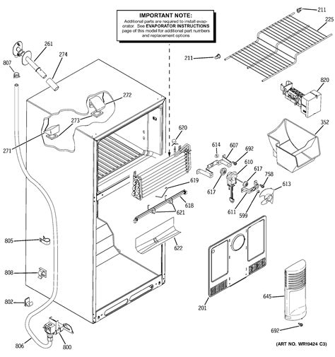 ge refrigerator diagram assembly view for freezer section gth18dcrarww