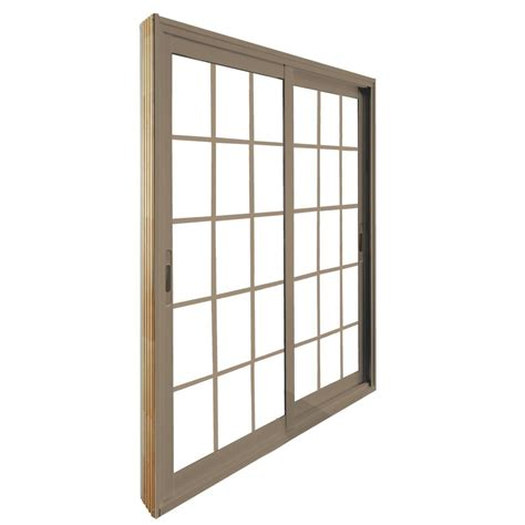 stanley doors 60 in x 80 in sliding sandstone patio door with 15 lite flat
