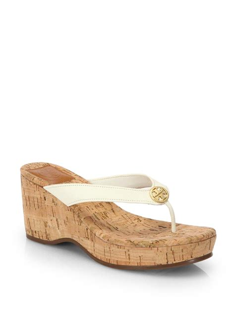 burch sandals wedge burch suzy leather cork wedge sandals in white lyst