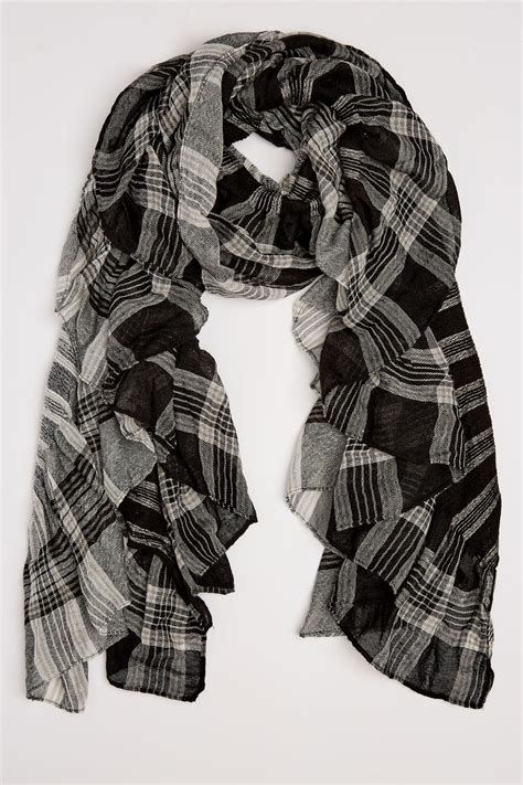 Buy Gift Cards With Checking Account - black white check elasticated ruffle scarf