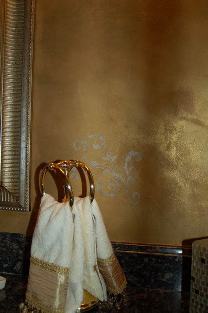 All Dolled Up In Gilded Metallics by Metallic Gold Plaster Troweled Walls Gilded Ceiling