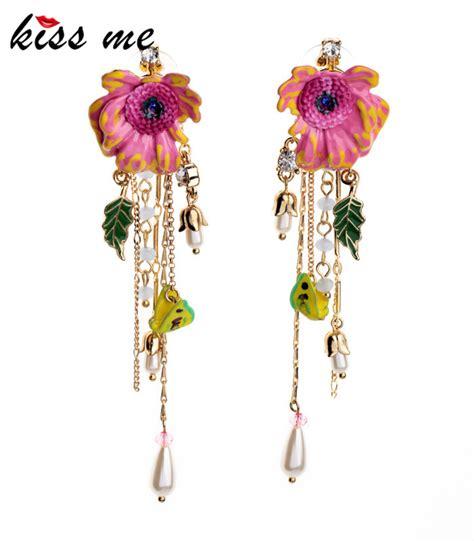 Floral Two Color Flowers Tassel Earrings Anting Panjang shijie jewelry fashion enamel flower leaf tassel drop