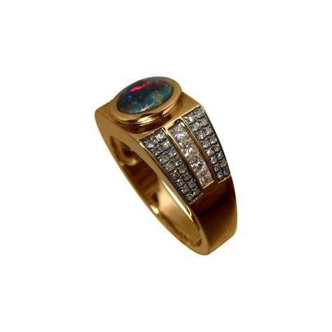 black opal mens ring s opal and ring in 14k gold flashopal