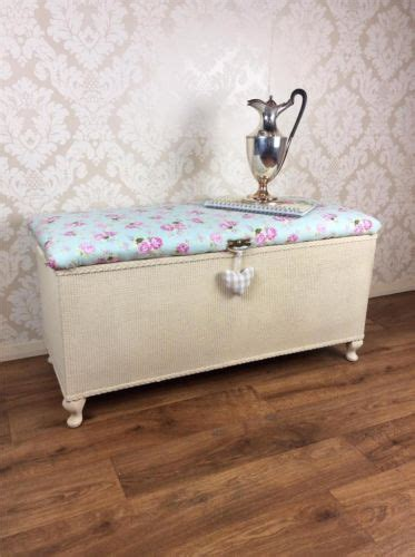 shabby chic ottoman lloyd loom storage box cabinet blanket vintage retro french ebay