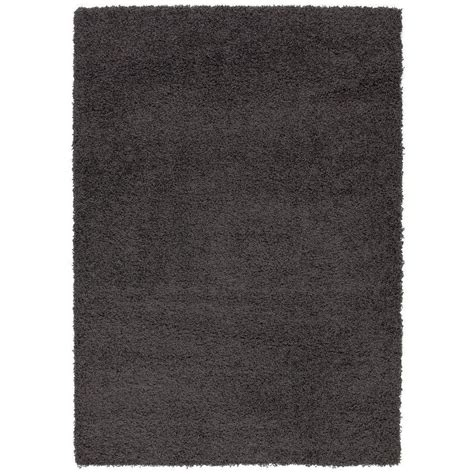 Berrnour Home Plush Solid Shaggy Dark Grey 5 Ft X 7 Ft Solid Grey Area Rug