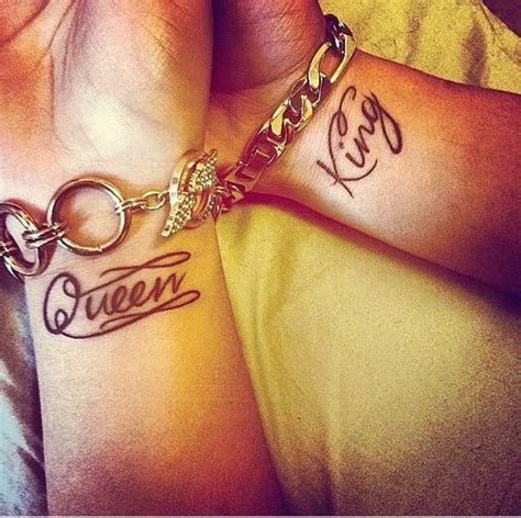 matching tattoos king and queen couples and king wrist