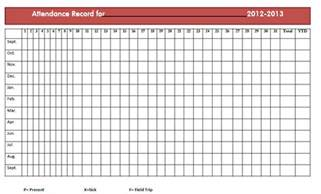 Free Attendance Sheet Template For Teachers by Search Results For Reprintable Attendance Sheets For