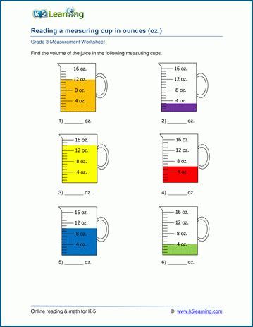 capacity volume worksheets using a measuring cup k5