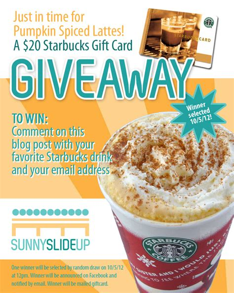 Starbucks Giveaway - starbucks giveaway sunny slide up