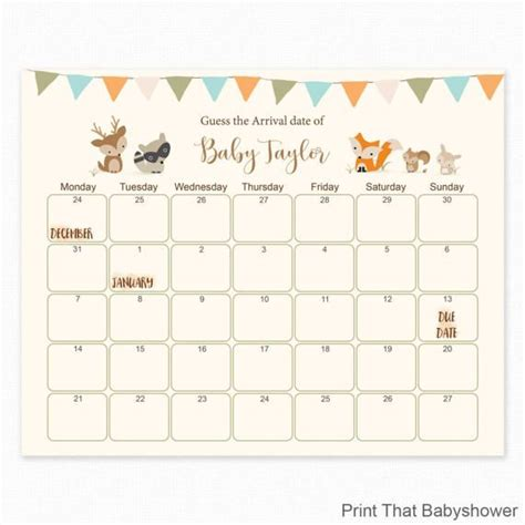 calendar template for baby shower woodland baby shower guess the due date by