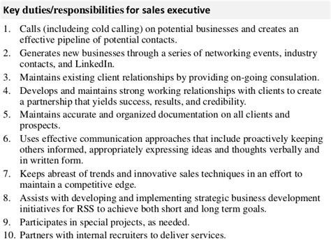 sales executive description