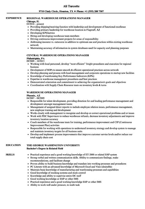 Warehouse Operations Manager Sle Resume by Warehouse Operations Manager Resume Sles Velvet