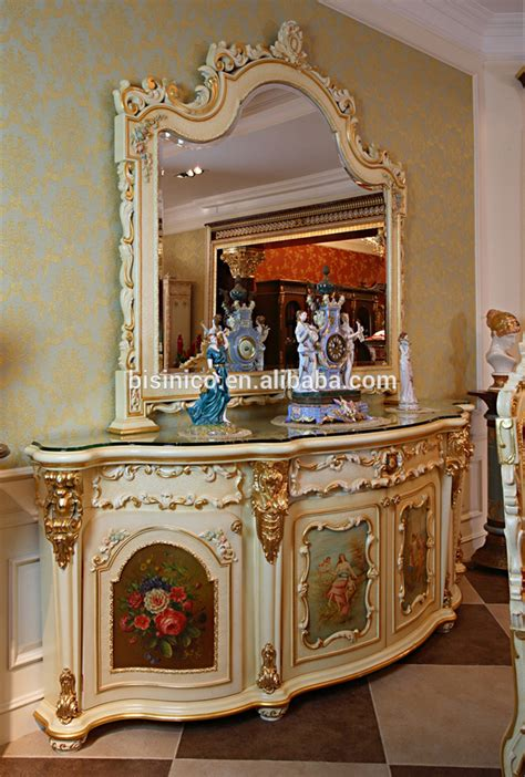 Luxury French Rococo Style White Four Door Glass Display Cabinet/ Gorgeous Home Decorative
