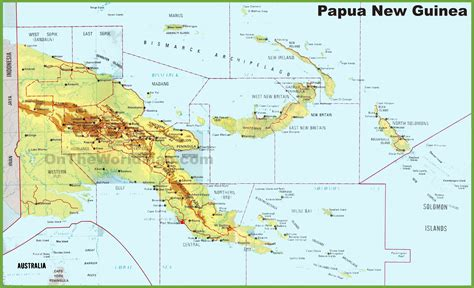papua new guinea guinea maps detailed