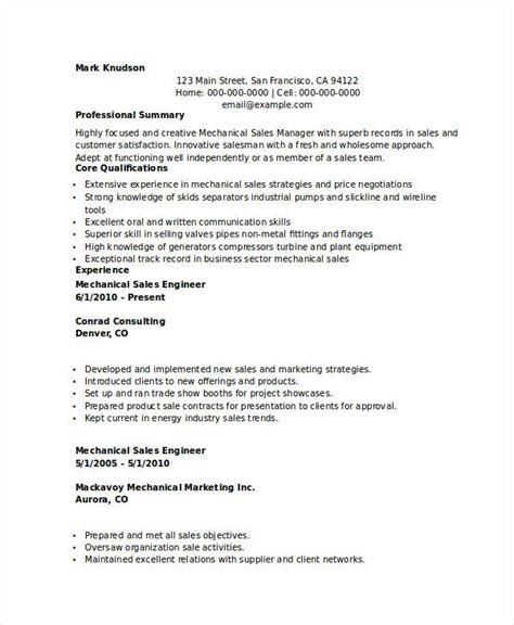 mechanical sales engineer resume resume ideas
