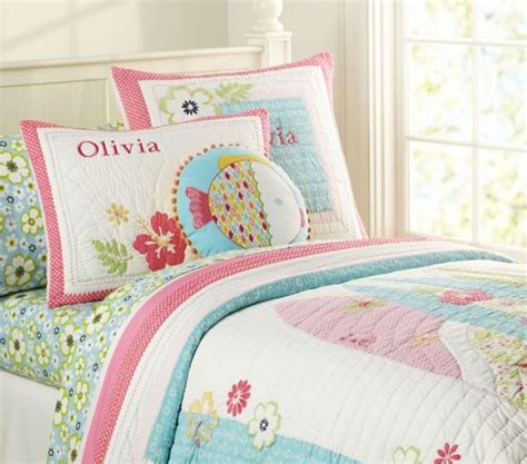 girls quilt bedding colored summer flowers quilted bedding for girls