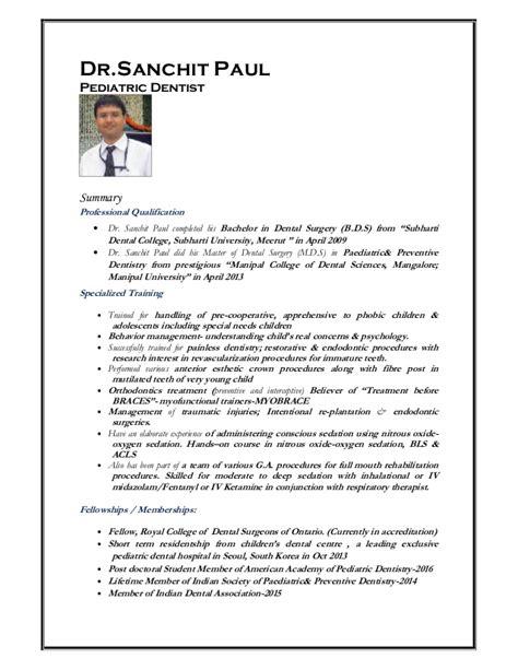 pediatric dentist cv sle curriculum vitae dr sanchit june 2016