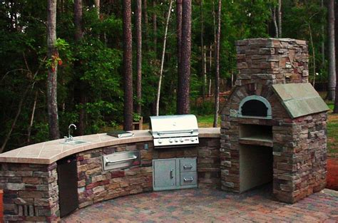 awesome backyard kitchen design brick grill island