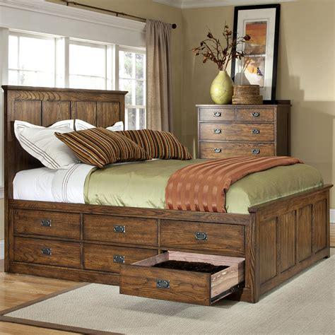 intercon oak park mission queen bed  twelve underbed storage drawers wayside furniture