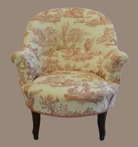 toile armchair c19 french louis armchair fauteuil linen toile de jouy