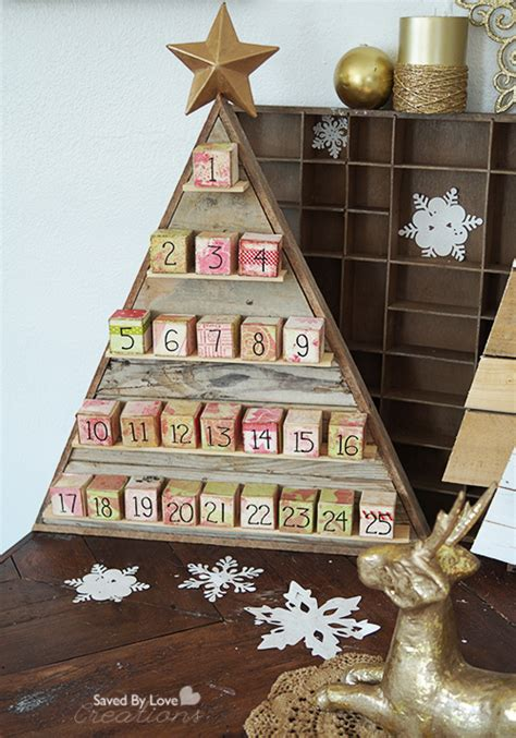 diy reclaimed wood christmas tree  advent artist blocks