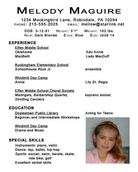 sample beginner acting resume child actor resume with no