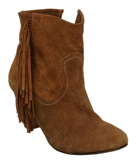 steve madden pistoll sm low fringe suede boots in brown