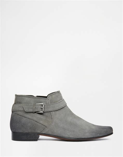 grey chelsea boots mens asos chelsea boots in grey suede with buckle in gray