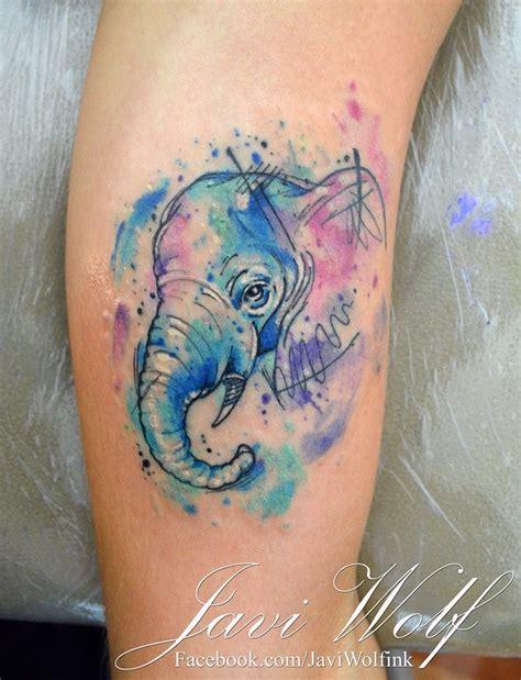 elephant tattoo portrait cute little elephant s portrait colored tattoo in