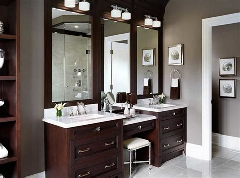 bathroom vanity with makeup counter with double sink