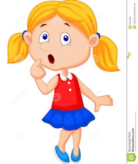 cute cartoon girl thinking royalty free stock photos cute girl cartoon thinking royalty free stock photo