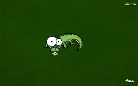green crocodile cartoon  green background wallpaper