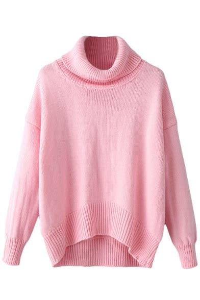 Plain Turtle Neck Sweater turtle neck plain sleeve high low sweater
