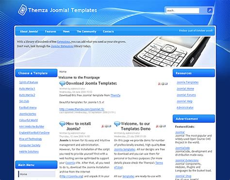 joomla template free joomla 1 5 x templates mobile solutions by themza