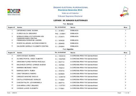 jurados electorales bolivia jurados electorales en el exterior elecciones generales