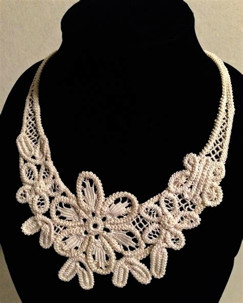 necklace pattern pinterest irish crochet jewelry romanian point lace floral