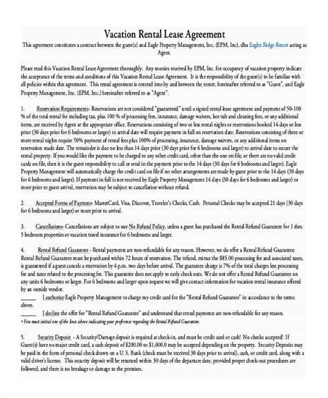 Weekly Rental Agreement Template by Vacation Rental Agreement 8 Free Word Pdf Documents