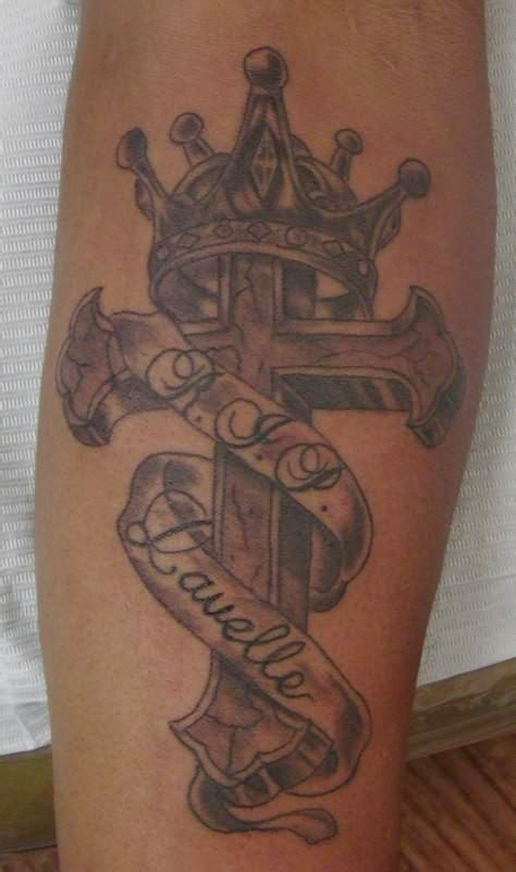 cross tattoo with crown cross crown