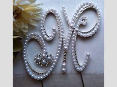 Pearl Cake Topper Monogram Wedding Cake Topper w/ extra ... M Monogram Wedding Cake Toppers