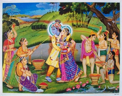 krishna playing holi with gopis celestine pinterest