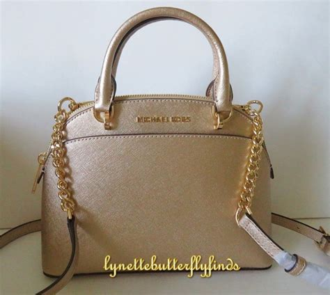 Mk Small Pale Gold michael kors emmy small dome satchel pale gold leather nwt