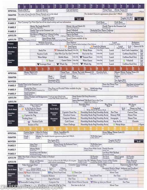 wonder 3 activity disney wonder navigator daily activity planner cruise