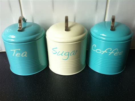 teal kitchen canisters teal tea coffee sugar kitchen canister jar tins ideal house warming gift ebay