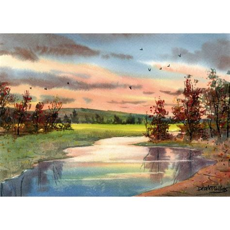 landscape and western art original watercolor painting creek sunsets western landscape painting tree water reflections art